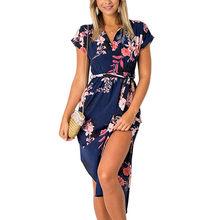 Robe d'été 2019 femmes Boho Style géométrique impression plage robe élégante robes de soirée avec ceinture Vestidos de fiesta grande taille XXXL(China)