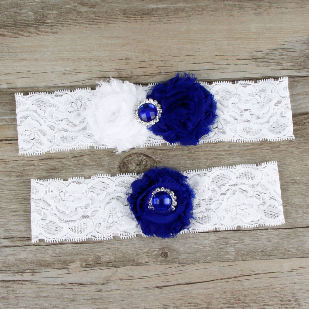 1 pair NEW wedding garter set blue bridal lace garter stretch toss garter vintage inspired garter