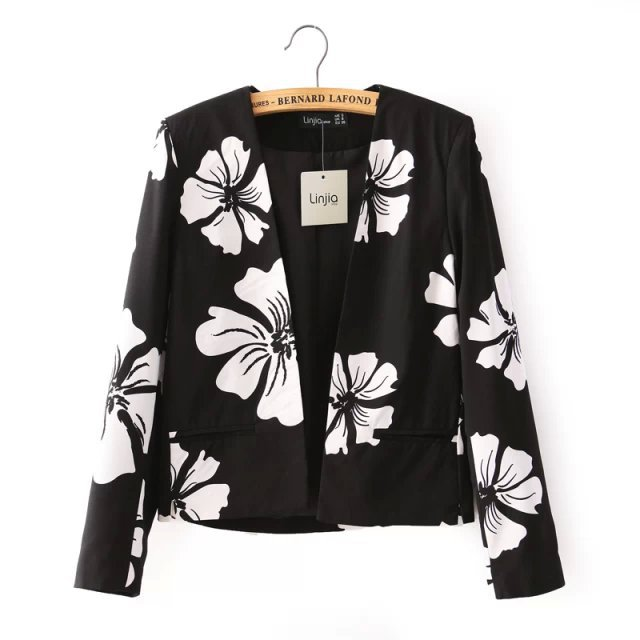 Spring Jacket 2015 Fashion Black White Flowers Patterns Brief Small Suit Casual Women Basic FH2413 - fashion hz's store
