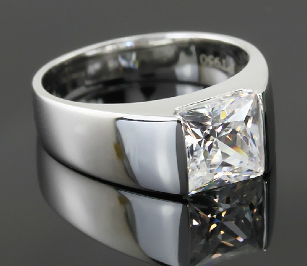 Genuine 18K White Gold 750 Gorgeous 2Ct Princess Cut Synthetic Diamond Wedding Ring for Men Amazed G18K 750 White Gold Jewelry(China (Mainland))
