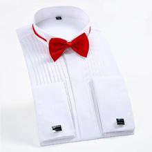 Nuevo 2015 hombres a estrenar camisa esmoquin moda hombres Wedding calidad superior de manga larga blanco del partido del algodón más el tamaño(China (Mainland))