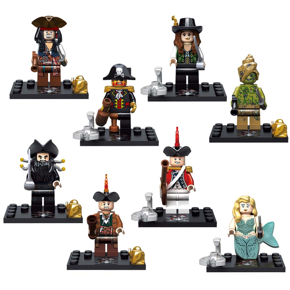 8pcs lot Pirates of the Caribbean Kid Baby Toy Mini Figure Building Blocks Sets Model Toys