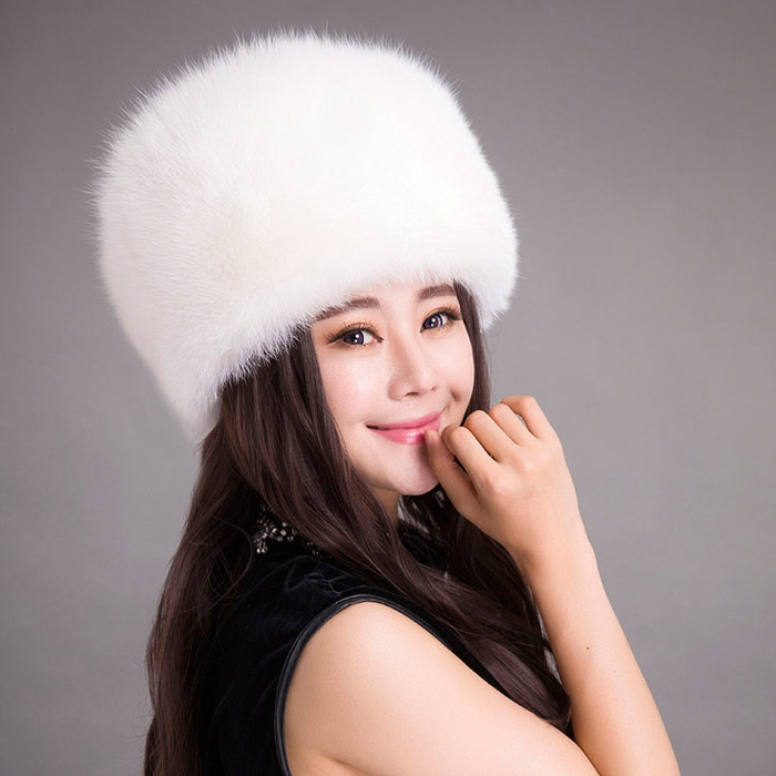 11 colors top GRADE Russian winter FAUX fur hat women fox fur hats Winter warm knitted beanies thick WOME WINTER BEANIES(China (Mainland))
