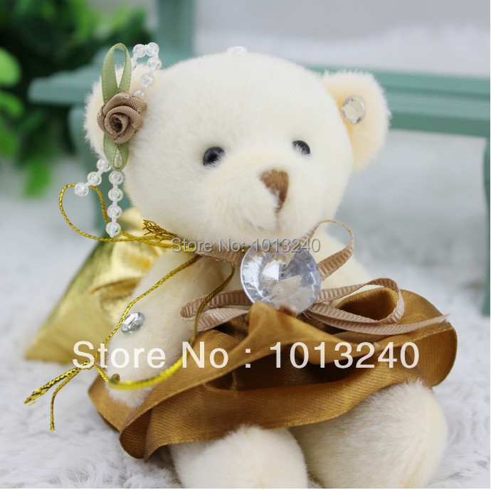 Free shipping 12pcs/lot plush teddy bear pendants with candy bag ribbon tie diamond plush toy mini joint teddy bear(China (Mainland))