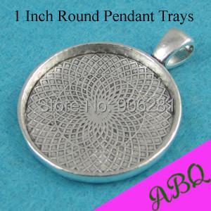 1'' Round Glass Cabochon Settings, 25mm Round Pendant Tray, Antique Silver Blank Bezel Setting Tray(China (Mainland))