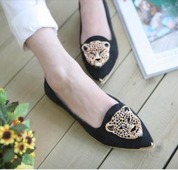 The New European And American Style Fashion Metal Rhinestone Pointed Shoes Leopard Head Flat Heels free shipping