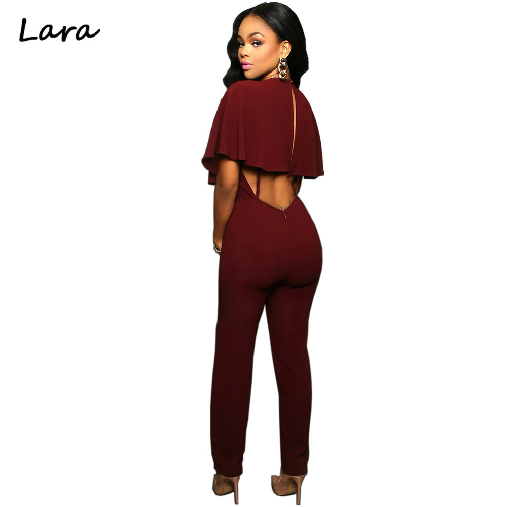 Summer 2016 Backless Deep V neck Long Pants Sexy Bodycon Zipper Ruffles Loose Rompers Womens Jumpsuit
