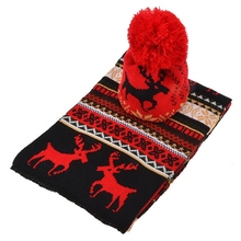 Christmas Women Knitted Hat And Scarf Set Fashion Wool Fawn Print High Quality Winter Shawl Scarf Wholesale(China (Mainland))