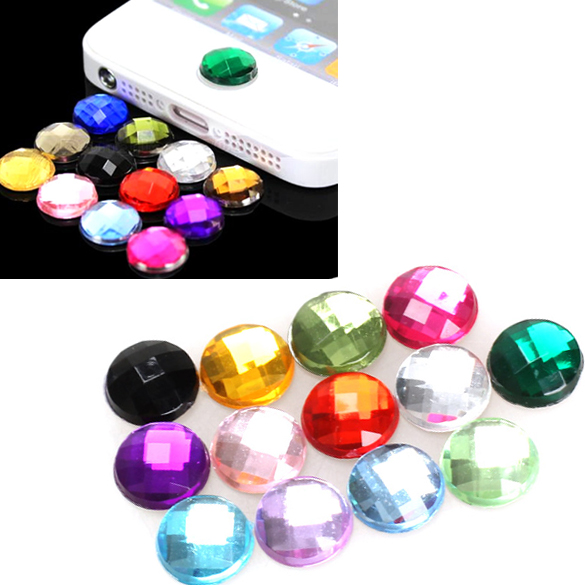 10x Diamond Bling Home Button Stickers for Apple iPod iPhone 3GS 4G 4S 5 5G ES88(China (Mainland))