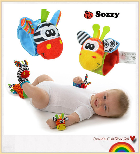 Lamaze brandDirect factory 2PCS Rattle Baby Toys Gift Plush Garden Bug Wrist Rattle + Foot Socks/warm socks Style Toys(China (Mainland))