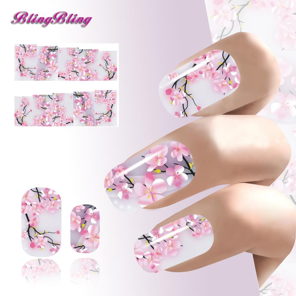 2pcs sakura nail art art sticker flowers water decals. Black Bedroom Furniture Sets. Home Design Ideas