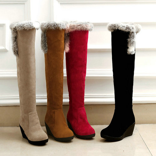 Knee high boots women 2015 new fashion wedge heel platform winter snow size 34-39 - ChengDu Fashion Shoes Factory store