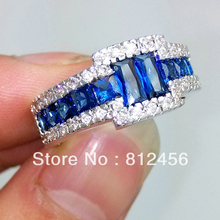 SZ 8,9,10,11 HI-Q Mens Blue Sapphire 10KT White Gold Filled Gem Ring hot Gift for Lover Man's(China (Mainland))