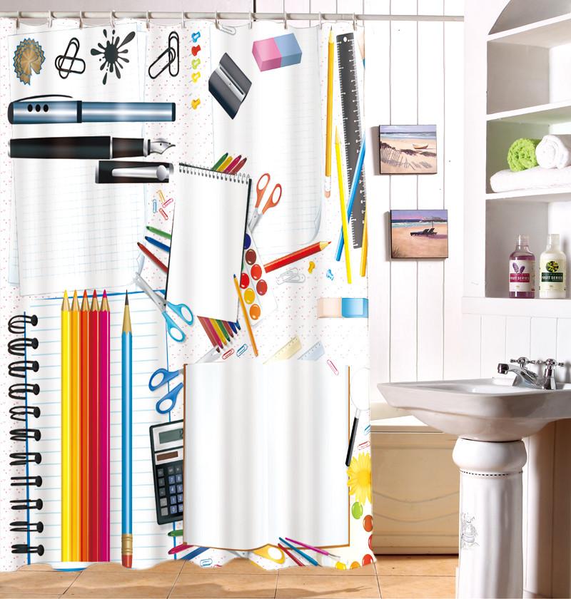 Buy 3D European Pencil knife Office Supplies Shower Curtain Custom Waterproof Washable Moisture Mildew Thickening Curtains Bathroom cheap