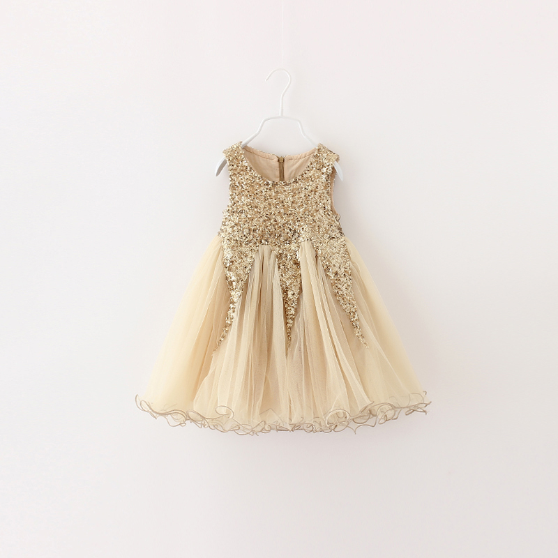 Deluxe Summer Style Gold Sequined Tulle Tutu Girl Dress Baby Girls Party Dress Sequins Wedding Ball Gown Flower Girls Clothes(China (Mainland))