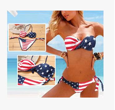 2016 Hot sale swimwear women Sexy bikini Set women swimsuit American flag steel swimwear(China (Mainland))