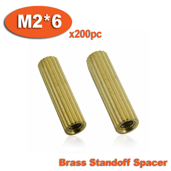 200pcs M2 x 6mm Brass Cylinder Shaped Female Thread Nuts Standoff Spacer Pillars<br><br>Aliexpress