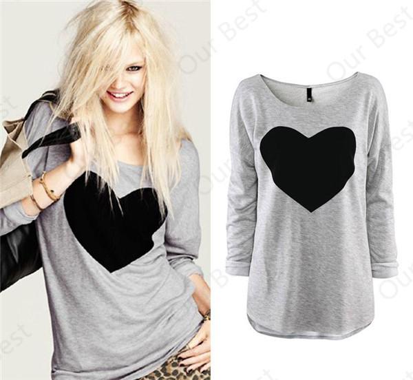Plus Size 2015 Fashion Women Casual T Shirt Tops Shirt Tees OL Love Heart Printed O Neck Full Sleeve Women Clothing(China (Mainland))