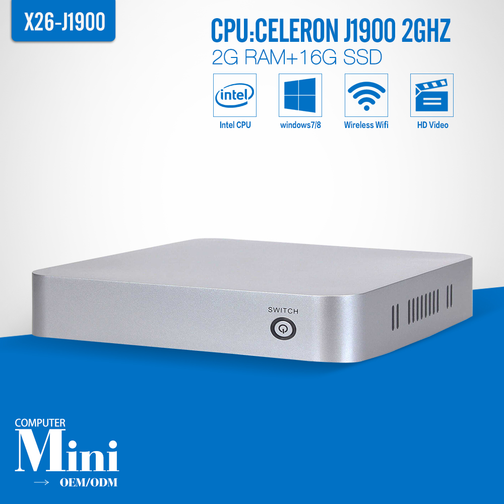 XCY x26 j1900 Quad Core Mini PCs Support Full-Screen Movies And 2D Games Win8 Nuc 1 Lan Port 2g Ram 16g SSD