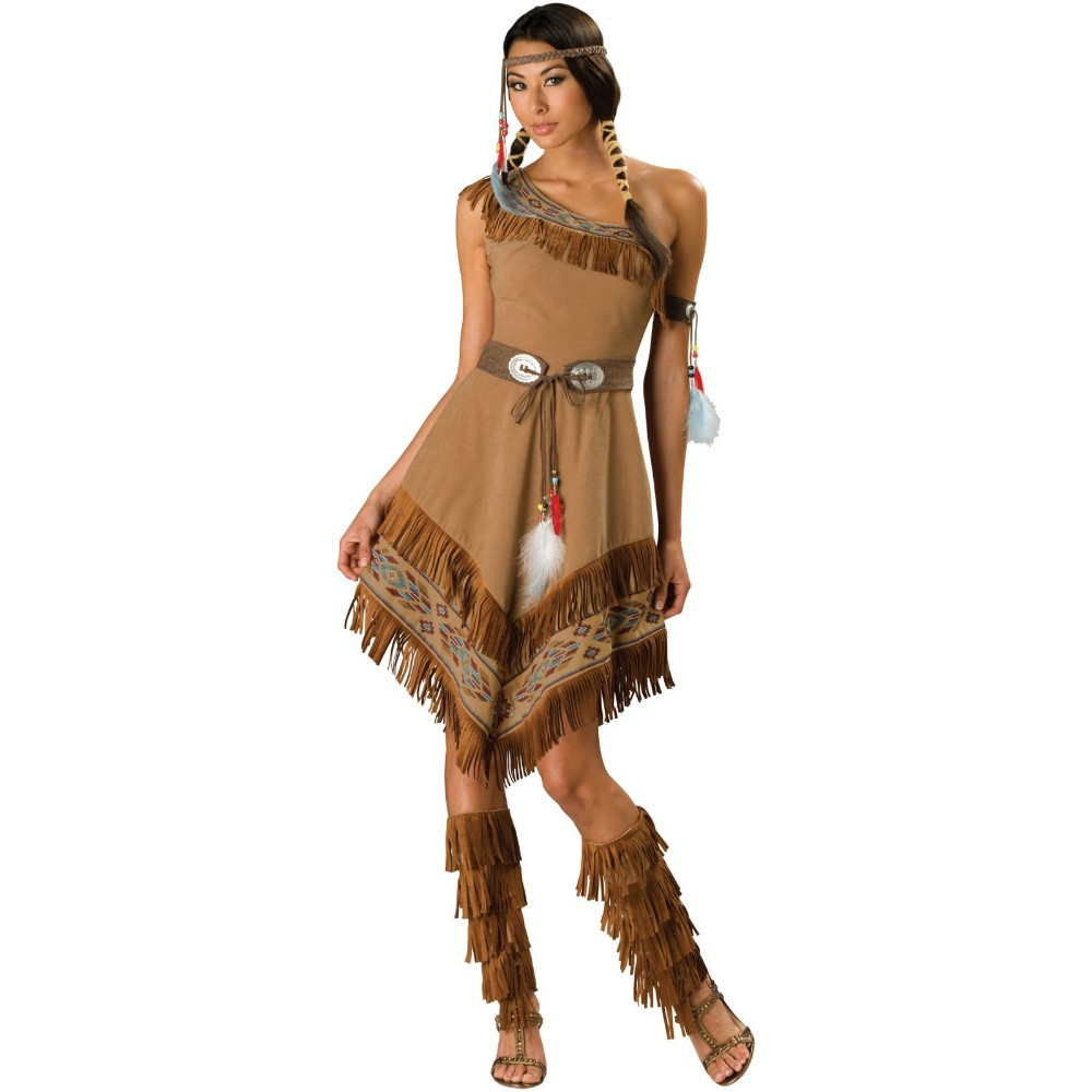 2014 nueva cosplay envío gratis ZY458 Ladies de lujo trajes de vestir Wild West Pocahontas Indian traje s-2xl(China (Mainland))