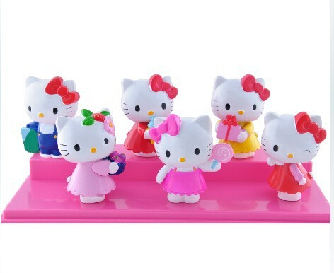 Hot 6pcs/lot 6cm Hello kitty anime figures Action Figures PVC toys juguetes brinquedos Free shipping(China (Mainland))