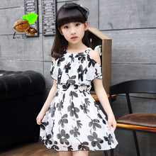 girl summer princess one-piece dress 2017 child girl summer chiffon print flower short-sleeve Children's clothing Family dresses(China (Mainland))