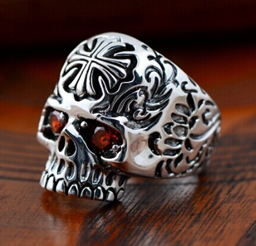 Handmade Thailand 925 Silver Skull Cross Ring Men's Vintage Sterling Punk Jewelry Gift - Lydia's Store store