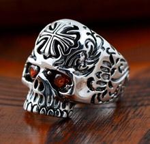 Handmade Thailand 925 Silver Skull Cross Ring Men's Ring Vintage Sterling Silver Punk Ring Skull Jewelry Gift