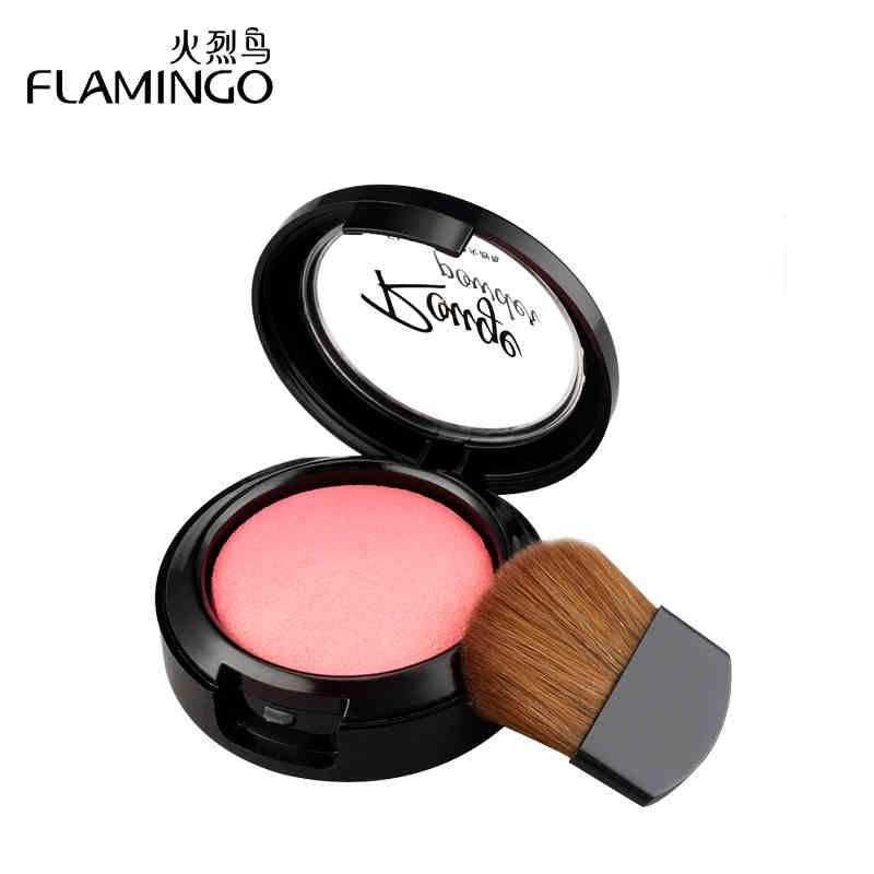 FreeShipping Flamingo Cheek Blush Powder Soft Nature Rouge Beauty Blusher Powder Nude Rouge Powder makeup cosmetic A1007(China (Mainland))
