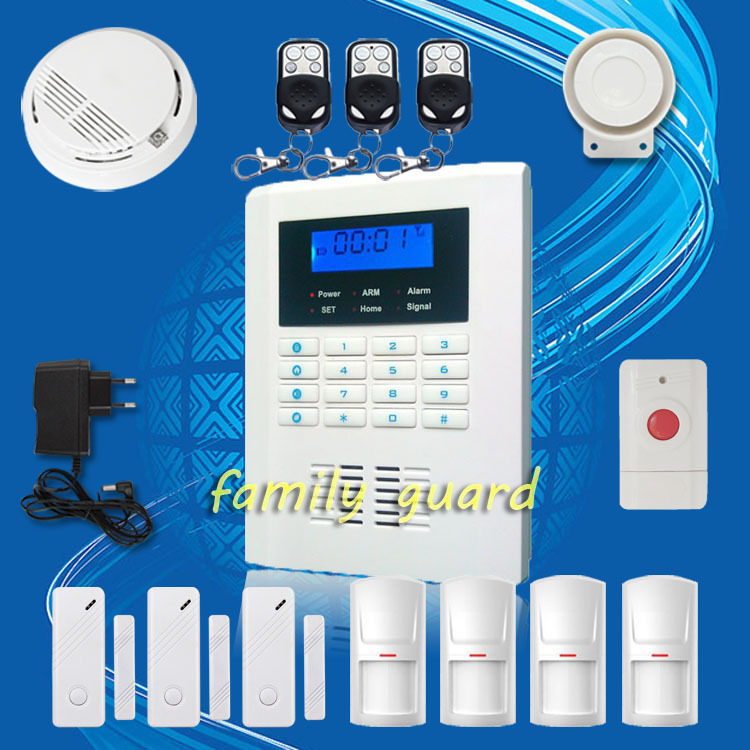Free Shipping!99 wireless zone 2 wired Quad-Band LCD home security PSTN GSM alarm system+Smoke Sensor+Panic Button+new PIR