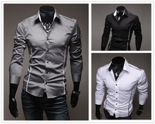 2015 Hot sell Casual Men Shirt long sleeve Slim Fit Blouse Long Sleeve Single Breasted Thin Shirts Size:M-XXXL