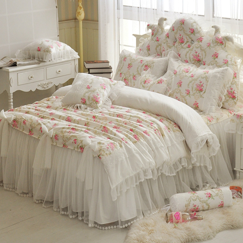 Aliexpress.com : Buy Floral printing lace princess bedding ...