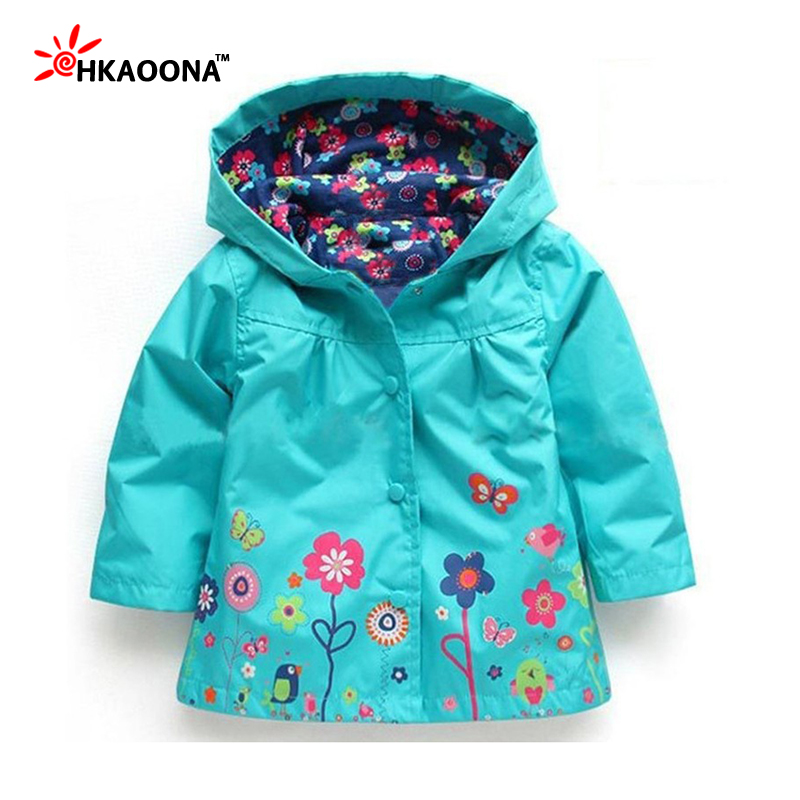 Sweet Style Girls Flower Pattern Hooded Tracksuit Windproof and Waterproof Coal Children's Rain Clothes Kids Boutique Outfit(China (Mainland))