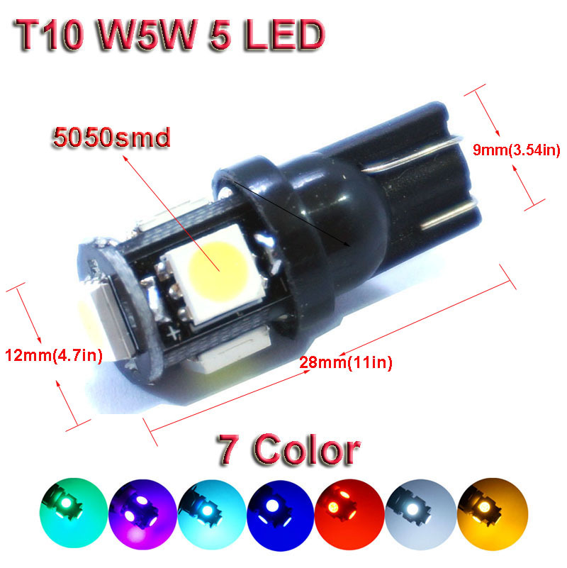 10X2015 New T10 5SMD DC 12V 1W 5050 192 168 194 W5W white/blue/red/green/yellow/pink Xenon LED Light Wedge Bulb Lamp For Car(China (Mainland))