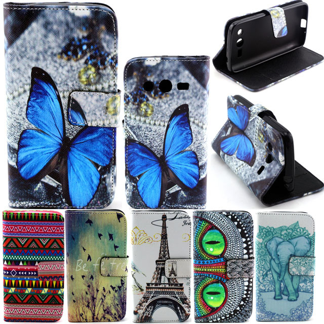 Fashion PU Leather Flip Phone Case Cover For Samsung Galaxy Ace 4 SM-G357FZ / Ace Style LTE G357 With Wallet Card Slot & Stand(China (Mainland))