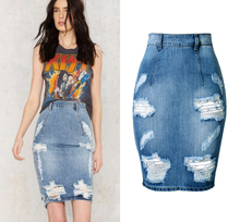 Women's High Waist Slim Package Hip Big Scratched Hole Washed Denim Skirts Sexy Lady Back Slit Pencil Bodycon Short Jeans Skirts