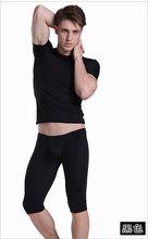 Men's underwear silk thin short sleeved T-shirt and pants suits long johns (a set) MVBSDXTZ001(China (Mainland))