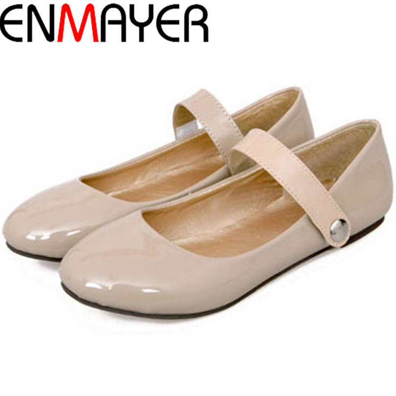 ENMAYER 4 colors solid love Mary Jane flat shoes hook&amp;loop round toe single shoes spring auturmn women flats size 34-42<br><br>Aliexpress