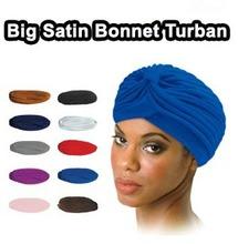 Free DHL + 250pcs/lot India muslim Hat women's turban elastic hip-hop dance party hat bandanas 13Colors big satin bonnet turban