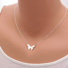 2015 Gold Silver Stainless Steel Jewlery Bridesmaids Gift Dainty Butterfly Charm Chain Necklaces