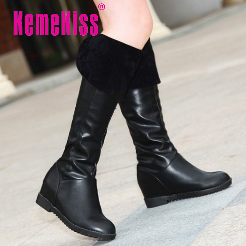 CooLcept Free shipping over knee high heel boots women snow wedge winter warm footwear shoes boot P15058 EUR size 34-39<br><br>Aliexpress