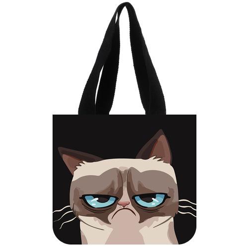Original Canvas Tote Bag Customized Unhappy Cat Tard the Grumpy Cat Tote Bag 02(China (Mainland))
