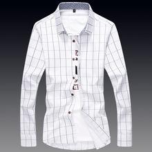 Top Quality!Man's Autumn Cotton Brand Dress Striped Shirt Men Casual White Camisas Slim Fit Social Chemises, Plus Size M-5XL