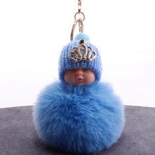 Coroa Bebê Dormindo Boneca Chaveiro Chaveiro Carro Chaveiro Bola de Pêlo de Coelho Pompom Fofo porte Saco clef chaveiro llaveros chaveiro(China)