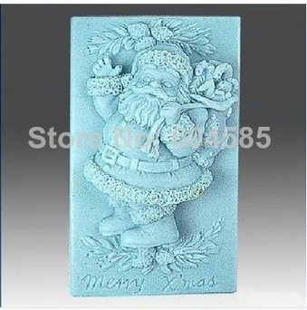 Free shipping Christmas Santa Clause Craft Art Silicone Soap mold Craft Molds DIY Handmade soap molds(China (Mainland))