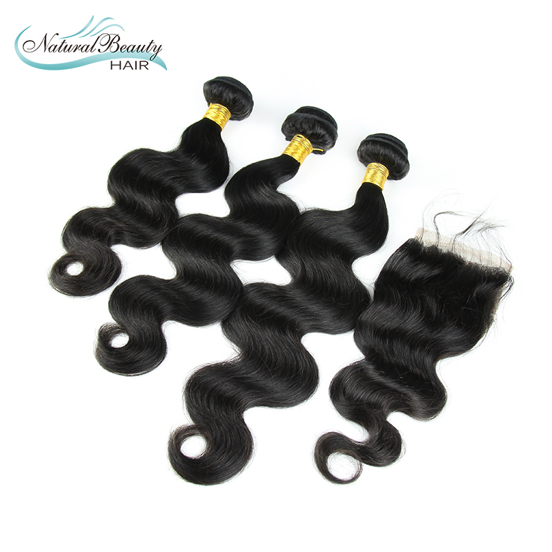 Unprocessed Hair Products 3Pcs with closure Indian Virgin Hair Body Wave 100% Indian Remy Hair Body Wave Shipping Free