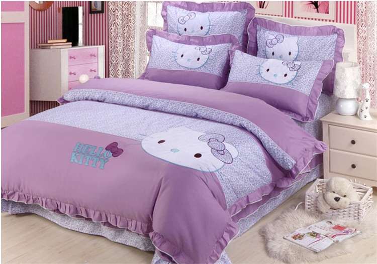 Free Shipping Kids 4PCS Cartoon Cotton Hello Kitty Purple Bedding Set Full Queen Size Child
