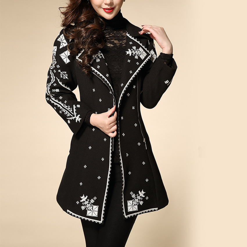 M-3XL elegant black jacket for women EMbroidery Turn Down Collar Long Sleeves 2015 Autumn Winer Womens Jackets And Coats 15725(China (Mainland))