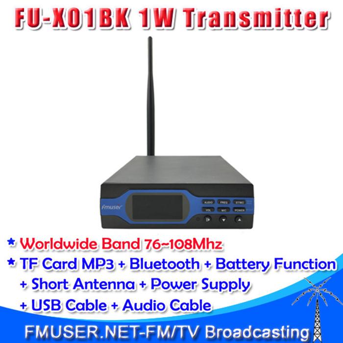 Freeshipping FMUSER FU-X01BK 1W FM Broadcast Transmitter Intermediate MP3+Bluetooth+Battery Function(China (Mainland))