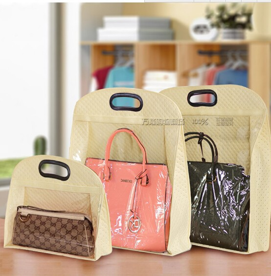 1SET 3pcs Non-woven Handbag Dust Proof Covers Wardrobe Wall Hanging Bags Storage Covers Dust Proof Bags(China (Mainland))